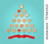 christmas advent calendar. | Shutterstock . vector #757661413