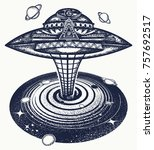 ufo and black hole tattoo and t ... | Shutterstock .eps vector #757692517