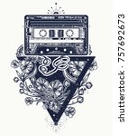 audio cassette and graceful... | Shutterstock .eps vector #757692673