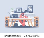 freelancer works with laptop at ... | Shutterstock .eps vector #757696843