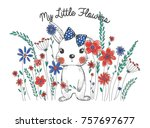 Stock vector little flowers and cute rabbit 757697677