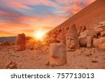 statues on top of the nemrut... | Shutterstock . vector #757713013