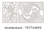 set contour illustrations of... | Shutterstock .eps vector #757714093