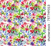 floral watercolor seamless... | Shutterstock . vector #757749313