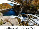 probiy waterfall on the prut... | Shutterstock . vector #757755973