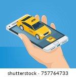female hand holds a mobile... | Shutterstock .eps vector #757764733