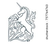 image of the heraldic unicorn.... | Shutterstock .eps vector #757764763