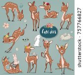 set with cute hares and deer | Shutterstock .eps vector #757766827