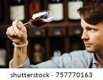 bokal of red wine on background ... | Shutterstock . vector #757770163