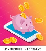 smartphone earning money with... | Shutterstock .eps vector #757786507