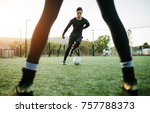 soccer players during practice... | Shutterstock . vector #757788373