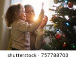 mother and daughter decorate a... | Shutterstock . vector #757788703