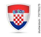 croatia flag vector shield icon ... | Shutterstock .eps vector #757790173