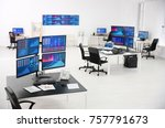 monitors with stock data on... | Shutterstock . vector #757791673