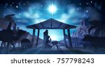 christmas nativity scene of... | Shutterstock . vector #757798243