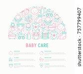 baby care concept in half... | Shutterstock .eps vector #757799407