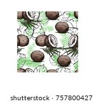 seamless pattern with coconut.... | Shutterstock .eps vector #757800427