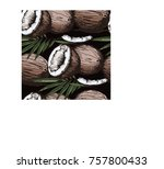 seamless pattern with coconut... | Shutterstock .eps vector #757800433