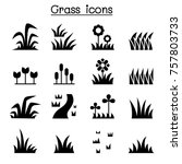 grass icon set | Shutterstock .eps vector #757803733