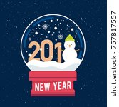 new year 2018 snow globe with... | Shutterstock .eps vector #757817557