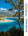oludeniz beach and blue clear... | Shutterstock . vector #757821223