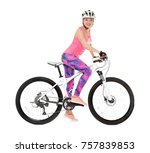young female cyclist riding... | Shutterstock . vector #757839853