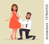 an offer of marriage. man... | Shutterstock .eps vector #757841923