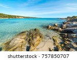 rocks and blue sea in andreani... | Shutterstock . vector #757850707