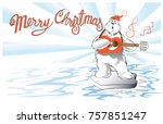 polar bear playing guitar and... | Shutterstock .eps vector #757851247