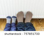 father and son in woolen winter ... | Shutterstock . vector #757851733