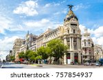 madrid in a beautiful summer... | Shutterstock . vector #757854937