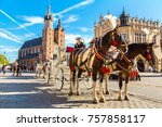 horse carriages at main square... | Shutterstock . vector #757858117
