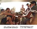 warm sun and best friends.... | Shutterstock . vector #757878637