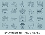 merry christmas. set of... | Shutterstock .eps vector #757878763
