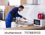 pest control worker in uniform... | Shutterstock . vector #757885933