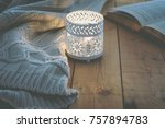 lit candle white knitted... | Shutterstock . vector #757894783