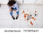 unhappy woman sitting on...   Shutterstock . vector #757895647