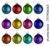 christmas balls isolated on a... | Shutterstock . vector #757906063