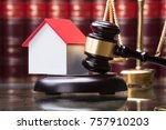 Close Up Of Gavel And House...
