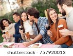 a company of young people came... | Shutterstock . vector #757920013