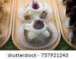 strawberry cake with vanilla...   Shutterstock . vector #757921243