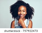 cute young african girl with... | Shutterstock . vector #757922473