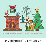 merry christmas greeting card.  ... | Shutterstock .eps vector #757960687