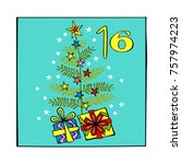 advent calendar. christmas tree.... | Shutterstock .eps vector #757974223