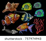 embroidery sea life collection. ... | Shutterstock .eps vector #757974943