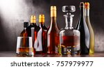 composition with carafe and... | Shutterstock . vector #757979977