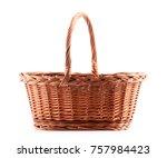 Empty wicker basket isolated on white background