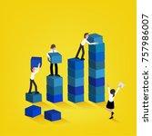 business team building higher... | Shutterstock .eps vector #757986007