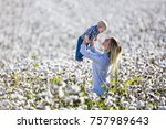 a young mother and her child... | Shutterstock . vector #757989643