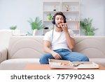 man eating pizza having a...   Shutterstock . vector #757990243